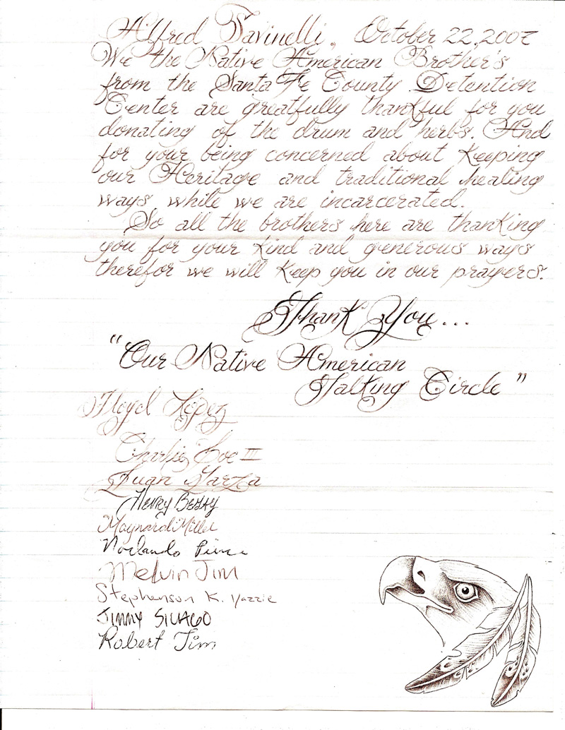 Inmate Group Thank You Letter